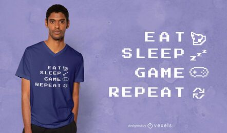 Diseño de camiseta Eat Sleep Game.