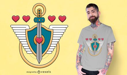 Diseño de camiseta escudo espada