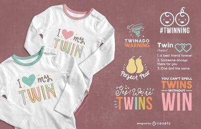 Design de camisetas com letras de gêmeos