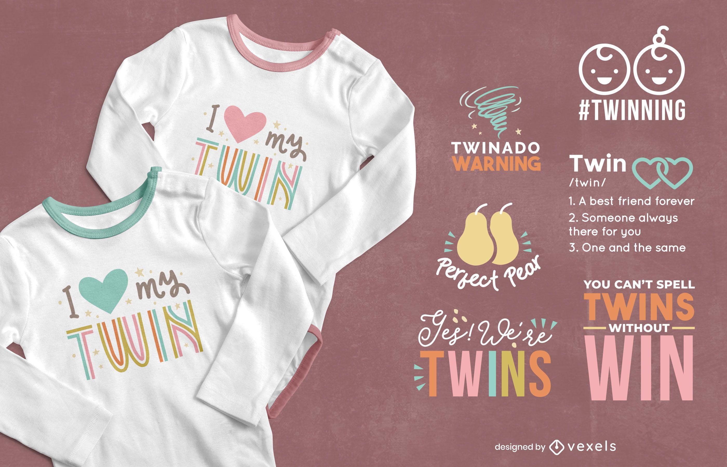Diseño de camiseta con letras gemelas