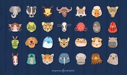 Conjunto de design de cabeças de animais fofas