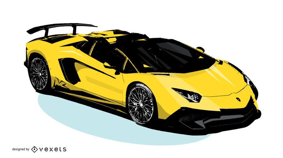 Yellow Lamborghini Vector Download