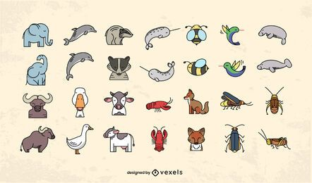 Conjunto de design plano de animais fofos