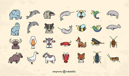 Conjunto de diseño plano de animales lindos