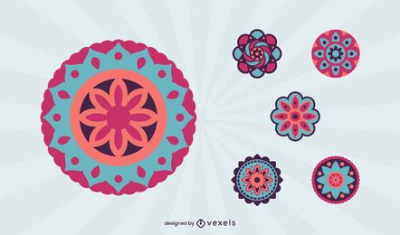 Conjunto de mandala colorida