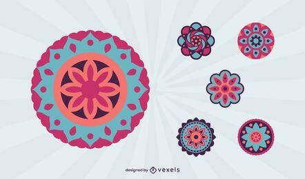 Conjunto de mandala colorido
