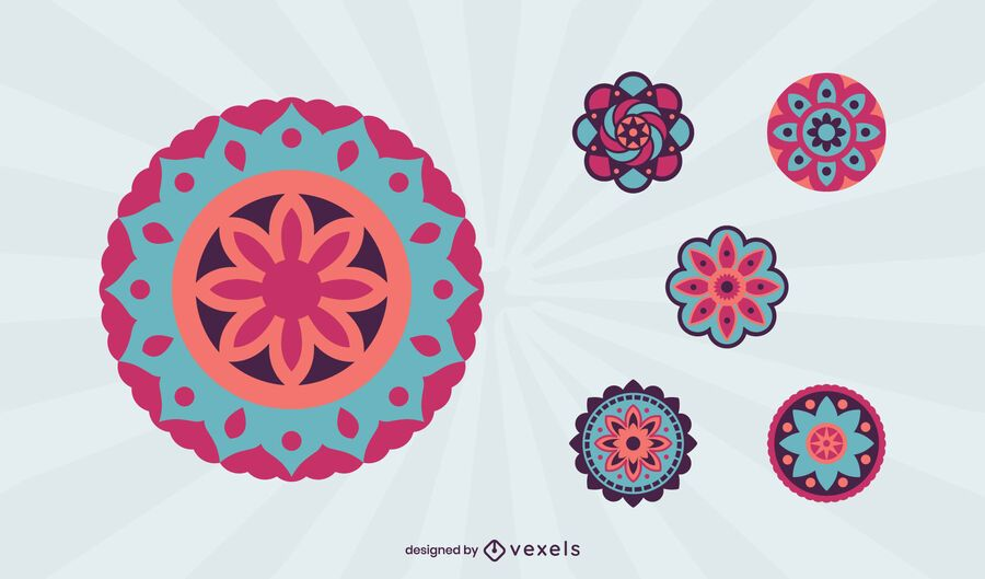 Buntes Mandala-Set