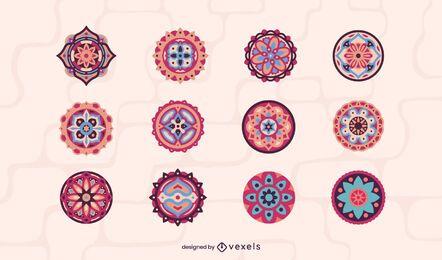 Coleção de mandala colorida