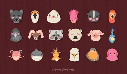 Conjunto de diseño de cabezas de animales lindos