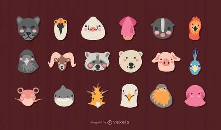 Cute animals heads design set