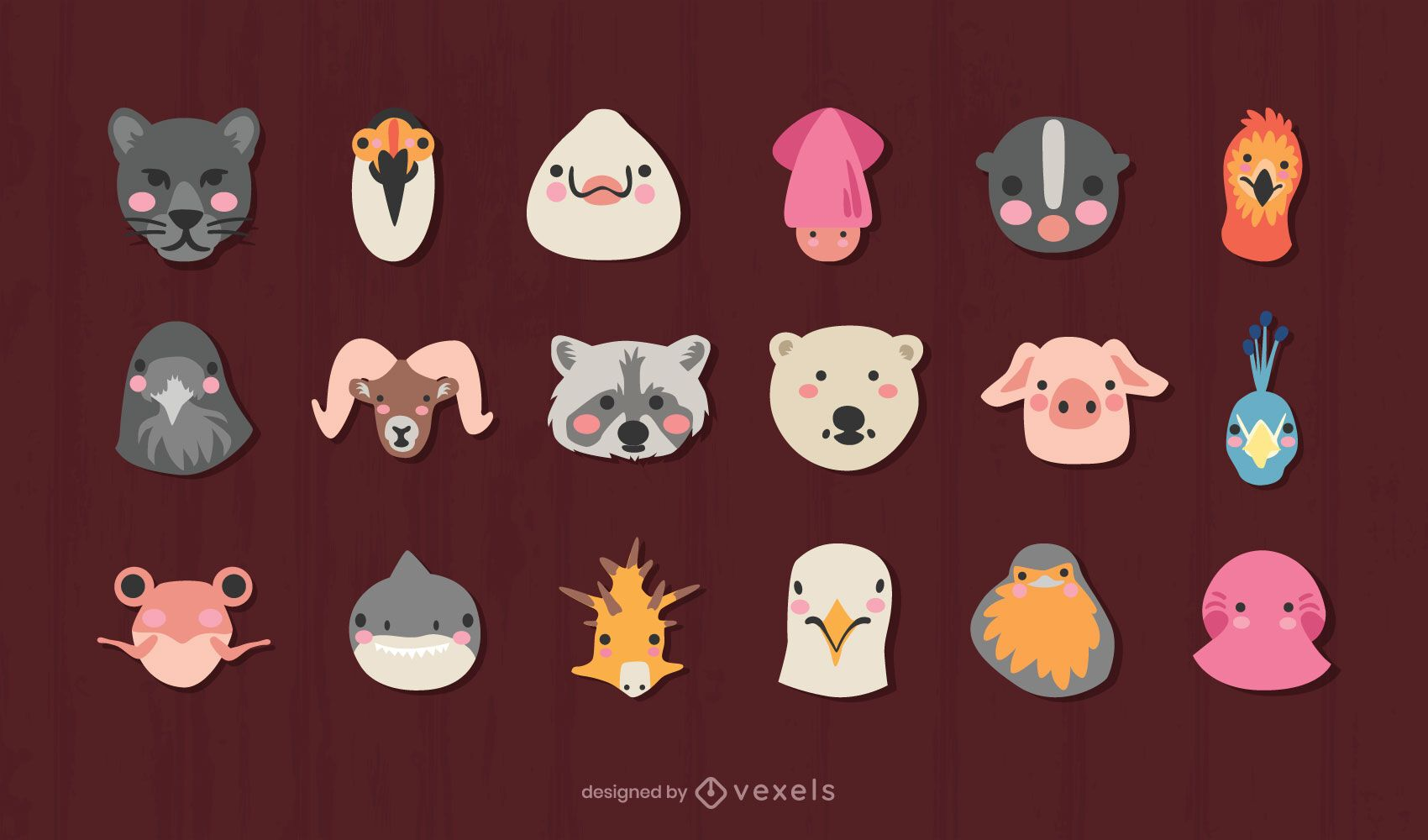 Cute animals heads design set
