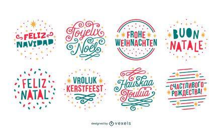 Conjunto de emblemas de idiomas para feliz natal