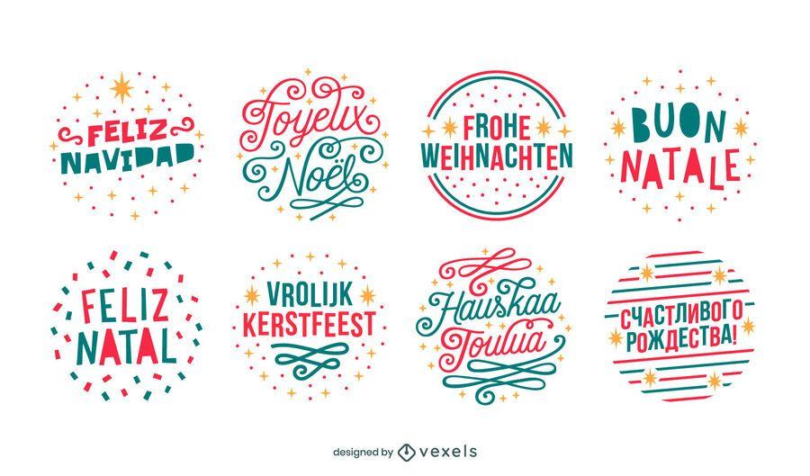 Merry christmas languages badges set