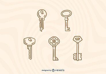 Stroke keys design set