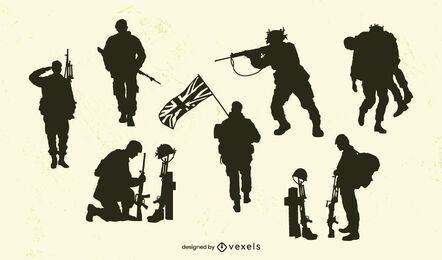 Conjunto de silueta del ejército del Reino Unido