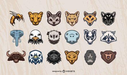 Conjunto de diseño de cabezas de animales.