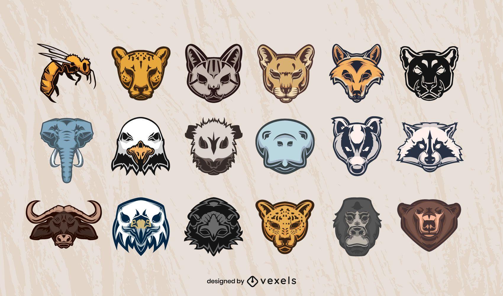 Conjunto de design de cabeças de animais