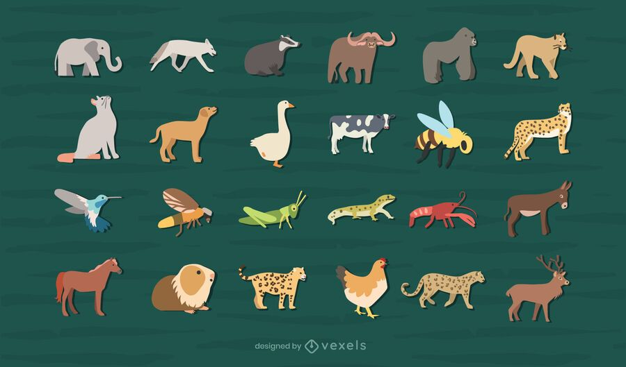 Flat animals design collection