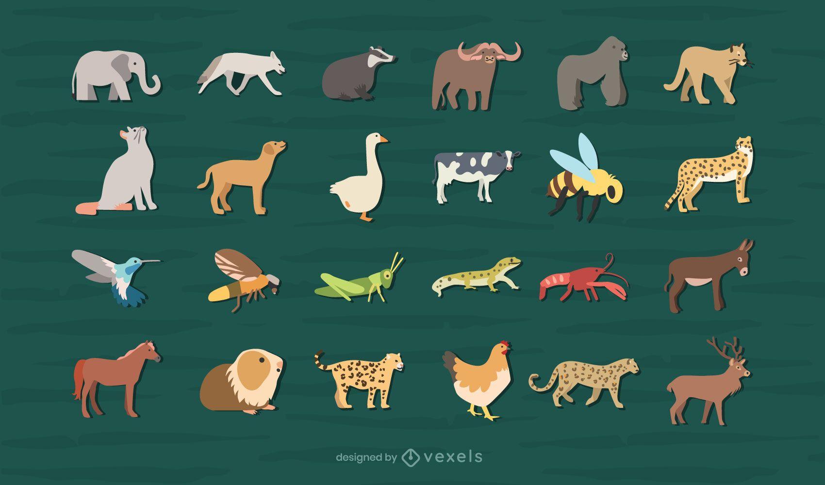 Colección de diseño de animales planos