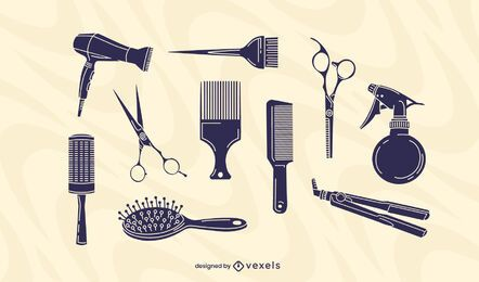 Conjunto de elementos de peluquería