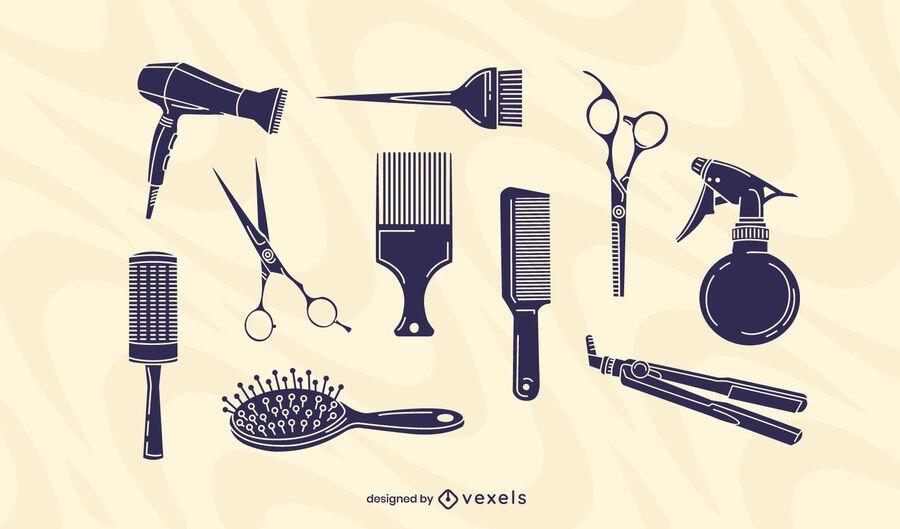 Hair salon elements set