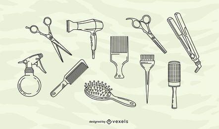 Conjunto de elementos de traçado de salão de cabeleireiro