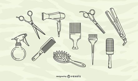 Conjunto de elementos de trazo de peluquería