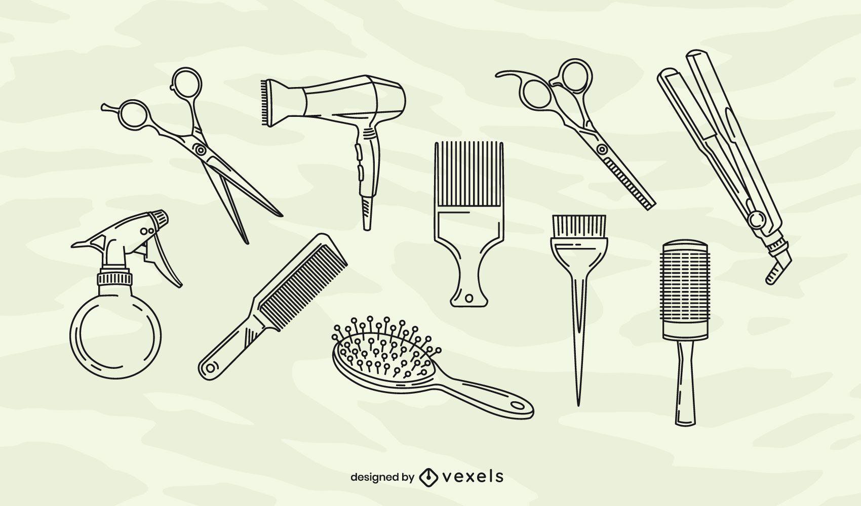 Hair salon stroke elements set