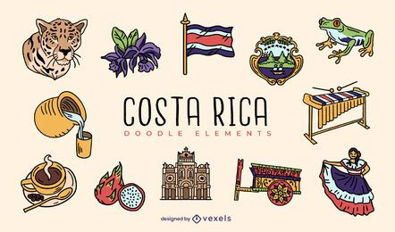 Costa rica doodle elements set