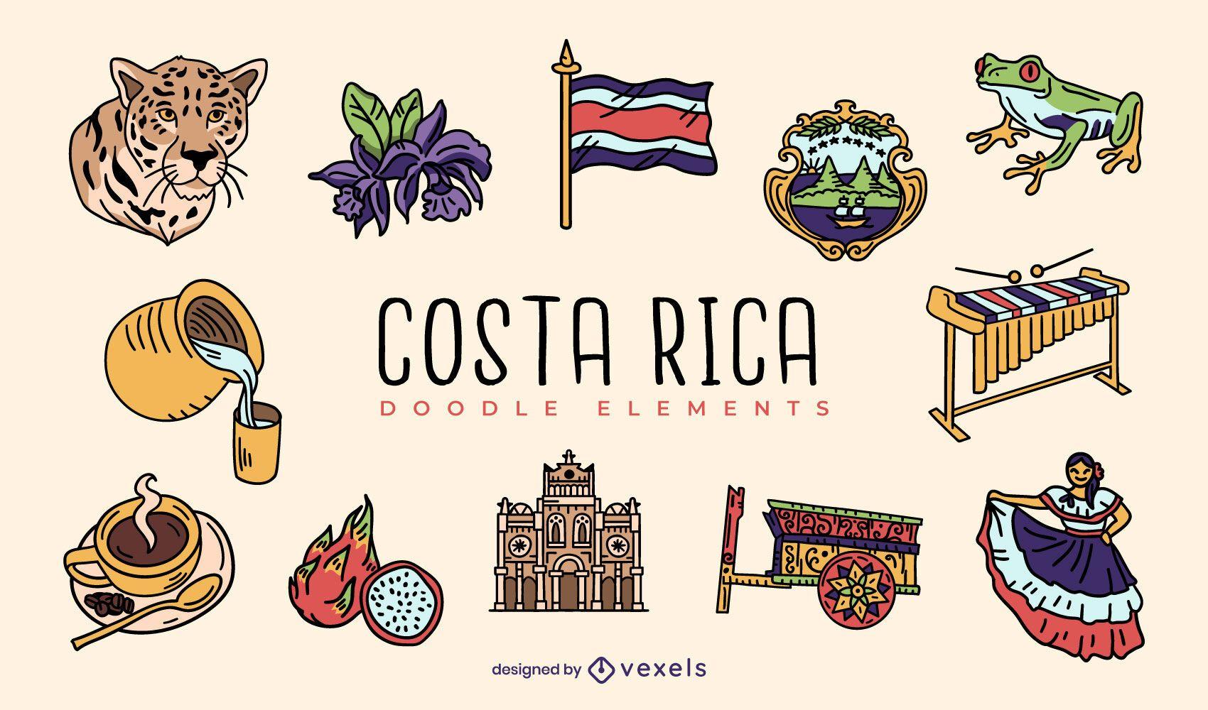 Conjunto de elementos de doodle de costa rica