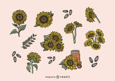 Conjunto de design de ilustração de girassóis