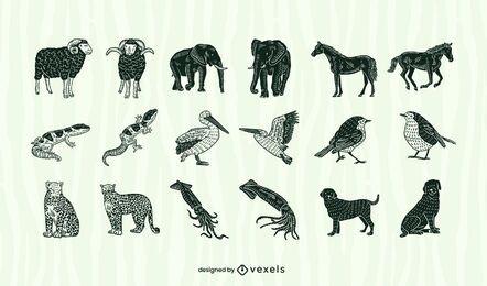 Conjunto de animales recortados