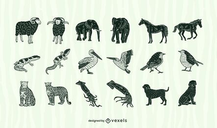 Conjunto de recortes de animais
