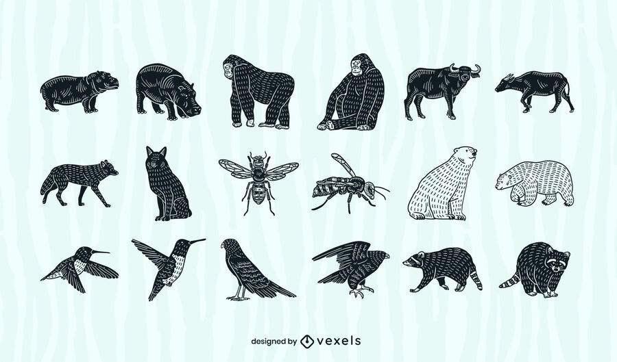 Animals cut out collection