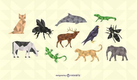 Conjunto de diseño de animales poligonales.