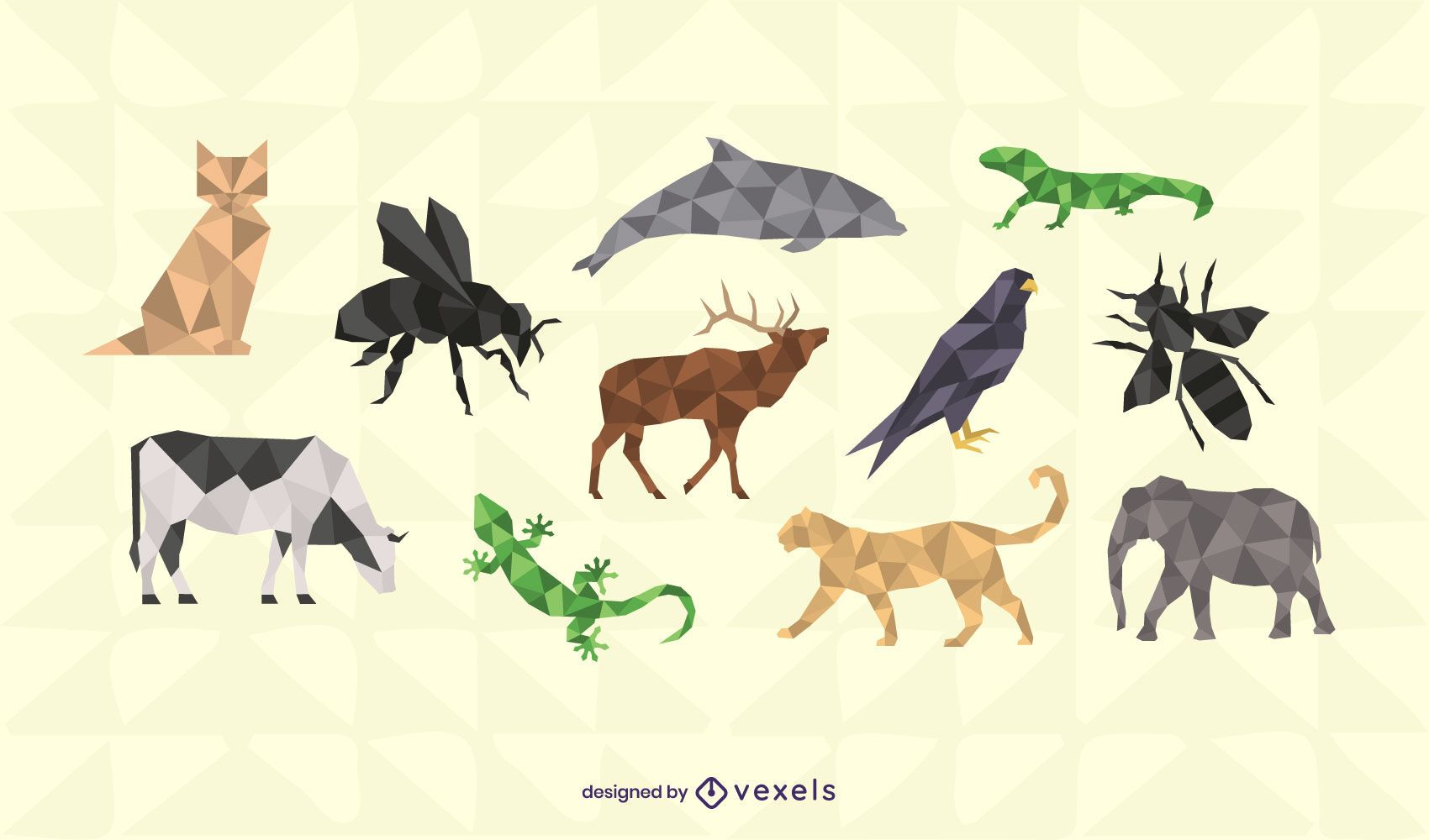 Conjunto de design de animais poligonais
