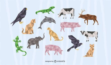 Animal polygonal design set
