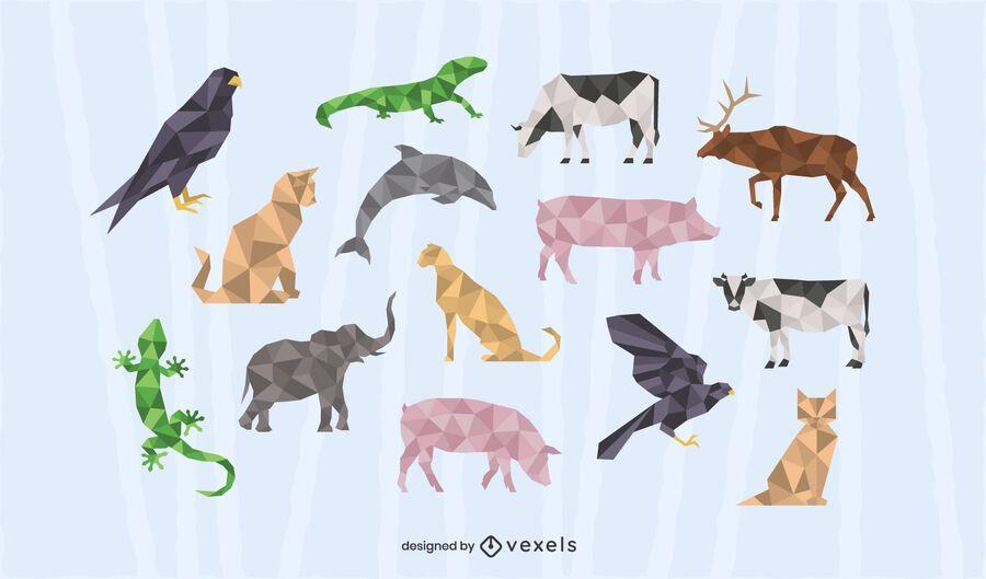 Conjunto de diseño poligonal animal.