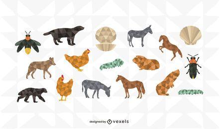 Conjunto de design poligonal de animais