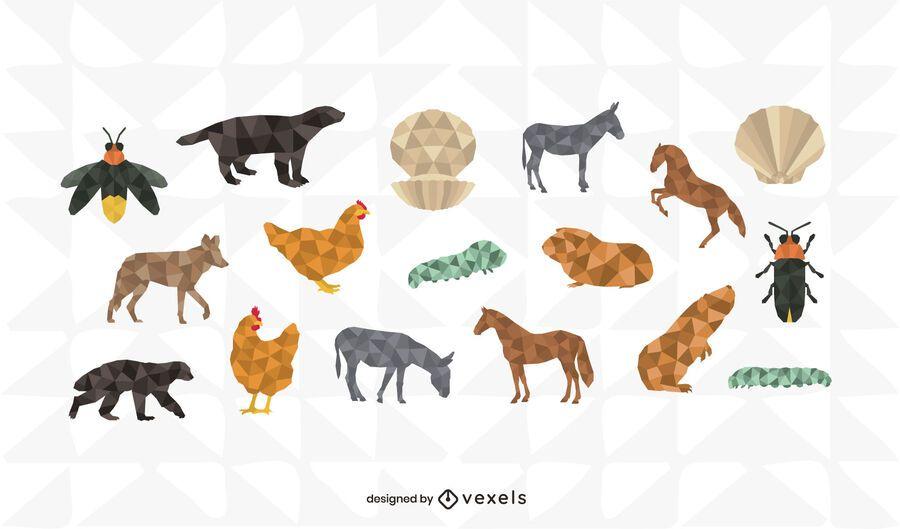 Conjunto de diseño animal poligonal