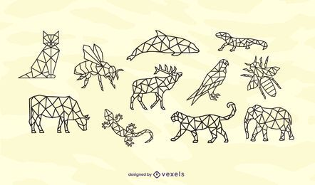 Conjunto de design de traços de animais poligonais