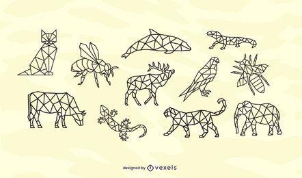 Conjunto de diseño de trazo de animales poligonales