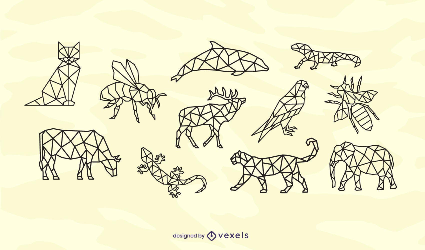 Polygonal animals stroke design set