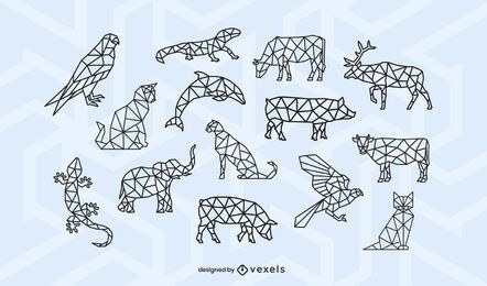 Animal polygonal stroke design set