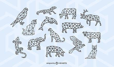 Conjunto de desenho de traço poligonal animal