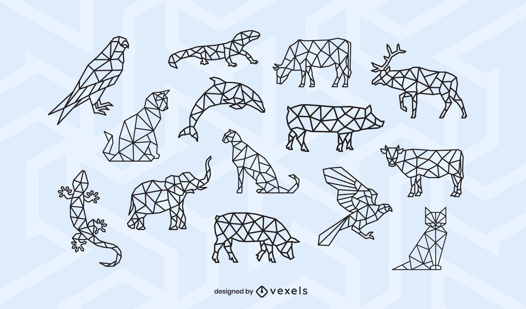 Animal polygonal stroke design set