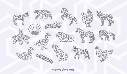 Conjunto de desenho poligonal de traços de animais