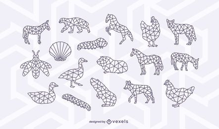 Conjunto de diseño de trazo animal poligonal