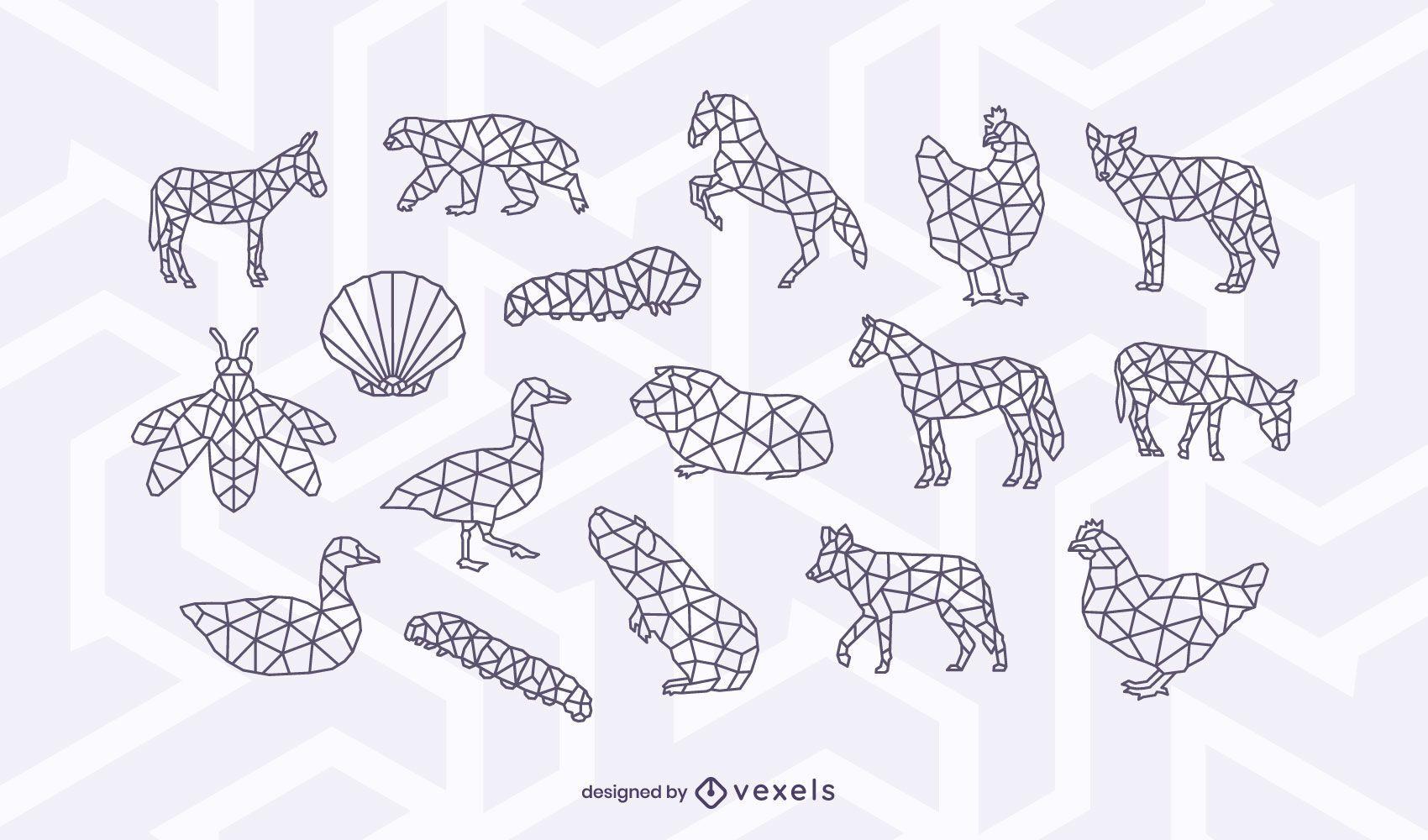 Polygonal animal stroke design set