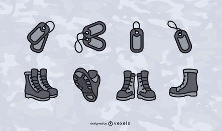 Conjunto de iconos militares